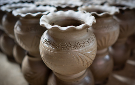 one kind of Thai pottery that made from clay and engrave by hand
