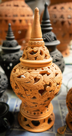 beautiful jar made from clay and engraved by hand