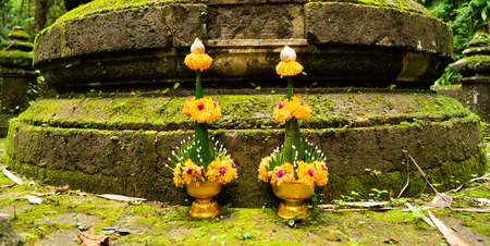 rice offring made from banana leaf,flower and rice under a conical arrangement of folded leaves and flowers