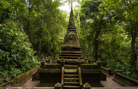 the very old Pagoda stand in the rainforest become geen with moss and weed Stok Fotoğraf