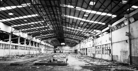 black and white deserted factory after bankruptcy 写真素材