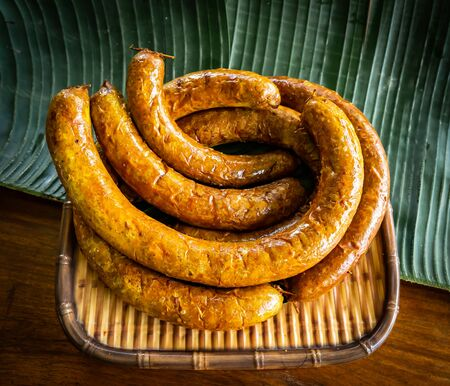 It is a grilled pork sausage made of pork and spice ingredient called grilled Sai ua.