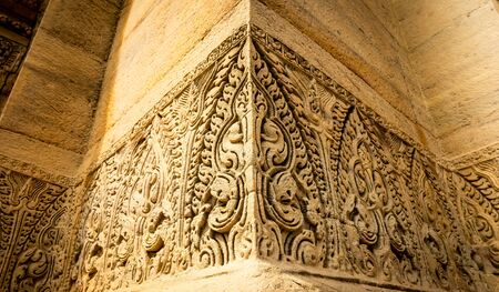 The very deep and most beautiful of sandstone sculptured at Pimai in Thailand.