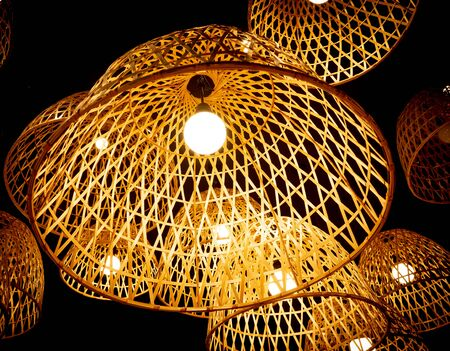 a group of bamboo lamp.