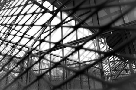 black and white fence in the factory. Stok Fotoğraf - 132579841