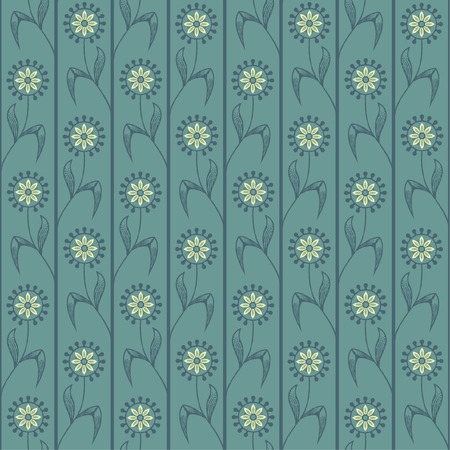 Decorative seamless pattern in a style reminding of an old etching, with stylised flowers arranged in stripes