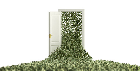 Money floating through a door Stock Photo