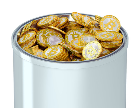 Bitcoins in a bucket - isolated on white Фото со стока