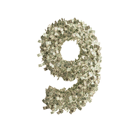 counterfeiting: Number 9 made from Dollar banknotes