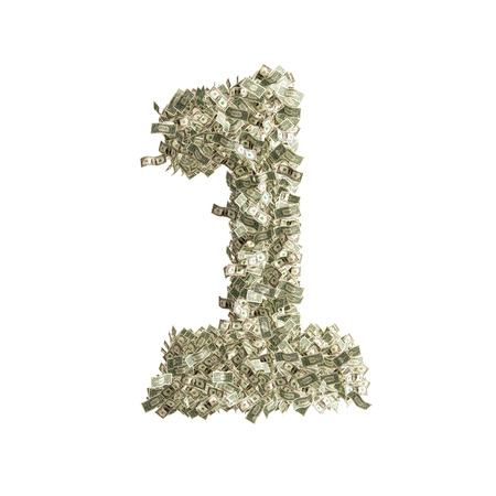 Number 1 made from Dollar banknotes