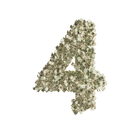 counterfeiting: Number 4 made from Dollar banknotes Stock Photo