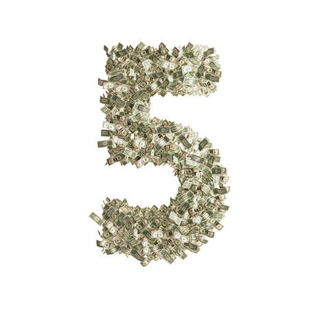 Number 5 made from Dollar banknotes photo