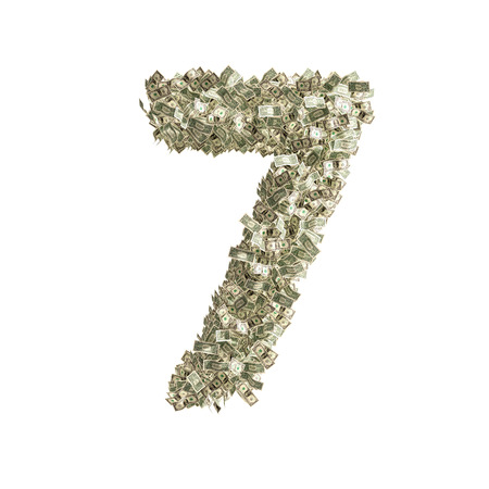 Number 7 made from Dollar banknotes