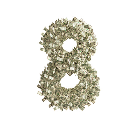 Number 8 made from Dollar banknotes