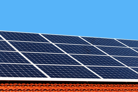 conserving: Solar panels on a roof