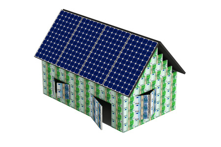 House made from Euro banknotes, with solar panels photo