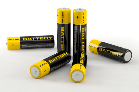 cell charger: 3D illustration of batteries