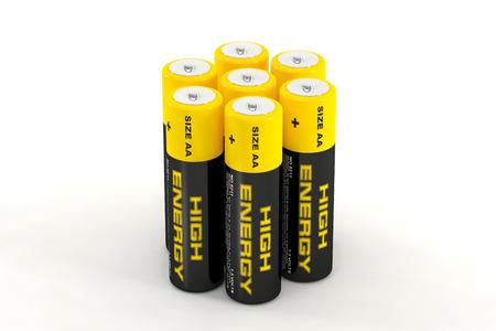 durability: 3D illustration of batteries