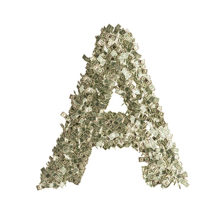 Letter A made from Dollar bills  photo