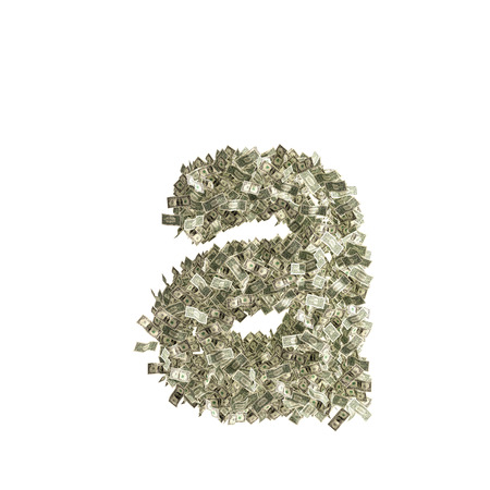 Small letter a made from Dollar bills photo