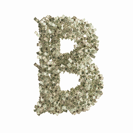 Letter B made from Dollar bills  photo