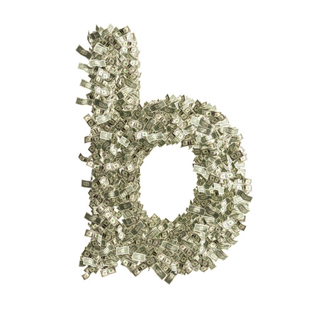 Small letter b made from Dollar bills photo