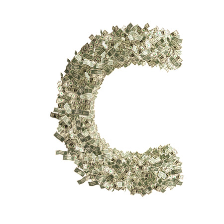 counterfeiting: Letter C made from Dollar bills  Stock Photo