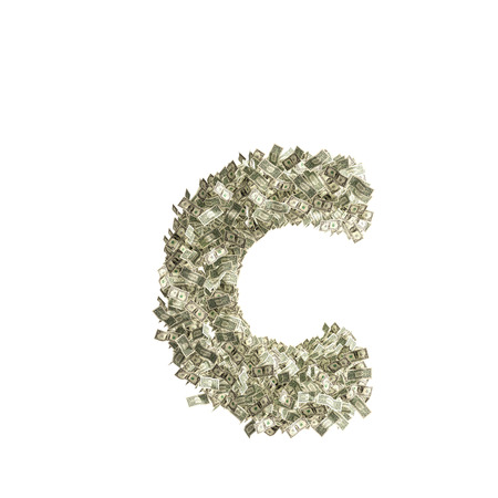 windfall: Small letter c made from Dollar bills