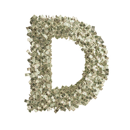 Letter D made from Dollar bills  photo