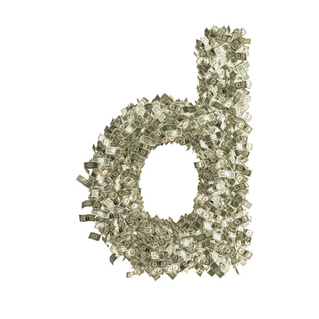 counterfeiting: Small letter d made from Dollar bills Stock Photo