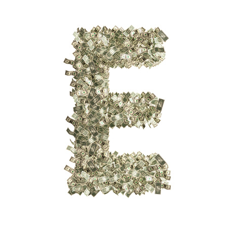 counterfeiting: Letter E made from Dollar bills