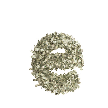 Small letter e made from Dollar bills photo
