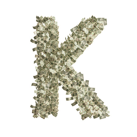 Letter K made from Dollar bills  photo