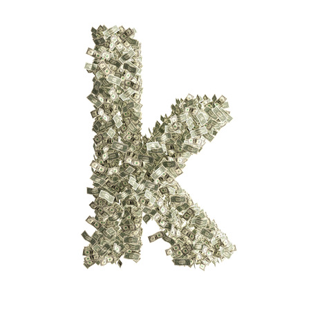 counterfeiting: Small letter k made from Dollar bills  Stock Photo