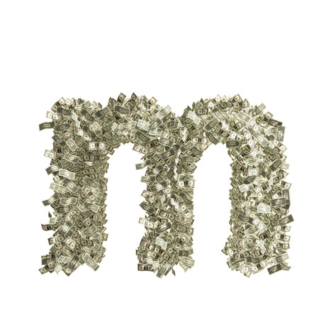 Small letter m made from Dollar bills