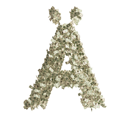 counterfeiting: Letter � made from Dollar bills
