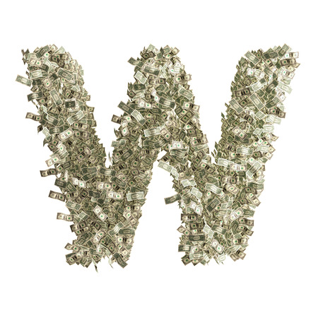 Letter W made from Dollar bills