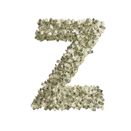 bonanza: Letter Z made from Dollar bills  Stock Photo