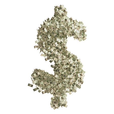Dollar Sign made from Dollar bills