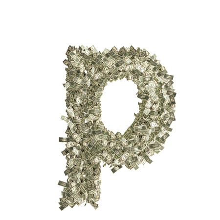 counterfeiting: Small letter p made from Dollar bills