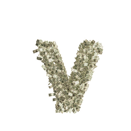 Small letter v made from Dollar bills  Stock Photo