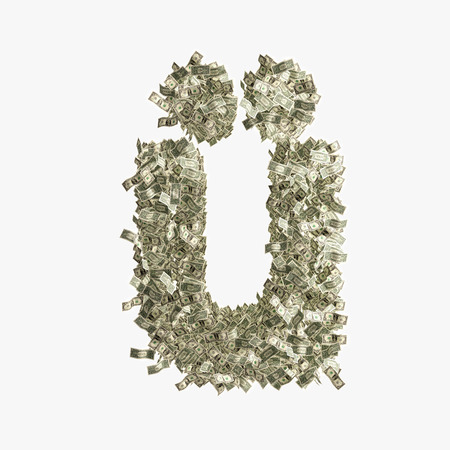 Small letter ü made from Dollar bills  Stock Photo