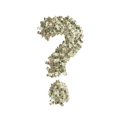 counterfeiting: Question mark   made from Dollar bills