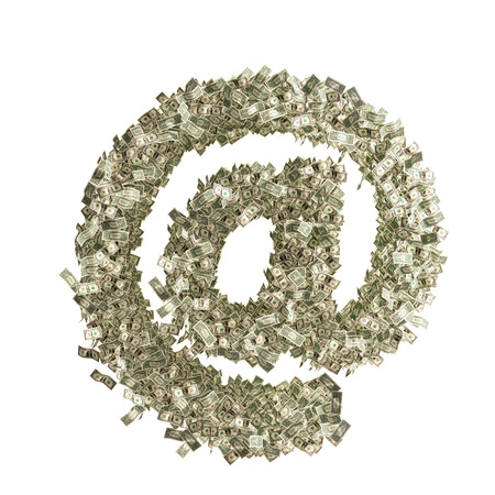 At Symbol, Email Symbol made from Dollar bills