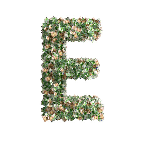 euro banknotes: Letter E made from Euro banknotes