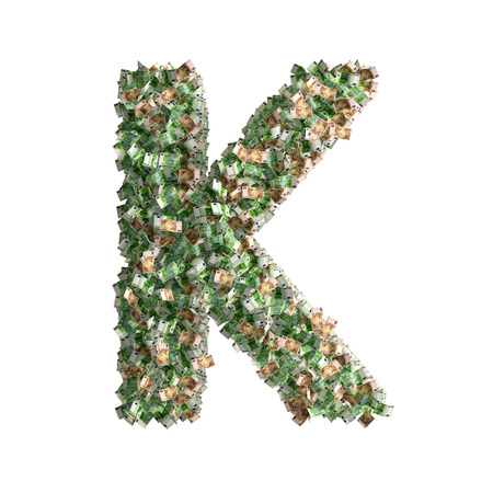 bonanza: Letter K made from Euro banknotes
