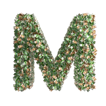 euro banknotes: Letter M made from Euro banknotes