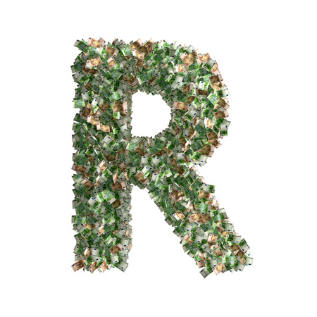 euro banknotes: Letter R made from Euro banknotes Stock Photo