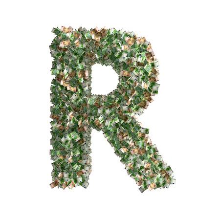 banconote euro: Lettera R fatto da banconote in euro