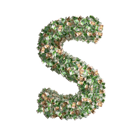 windfall: Letter S made from Euro banknotes Stock Photo